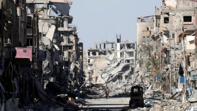 Cidade síria destruída pela guerra