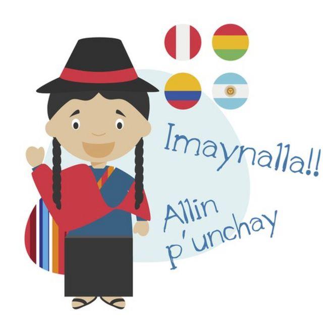 Ilustración que muestra saludos en quechua, una mujer con traje tradicional y banderas de Perú, Bolivia, Colombia y Argentina.