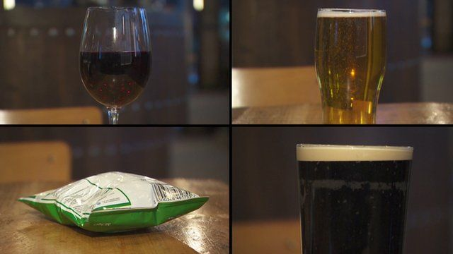Alcoholic drinks and crisps