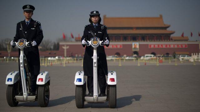 Police officers on Segways in Beijing