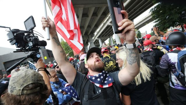 Far-right groups hold the End Domestic Terrorism rally on August 17, 2019 in Portland, Oregon