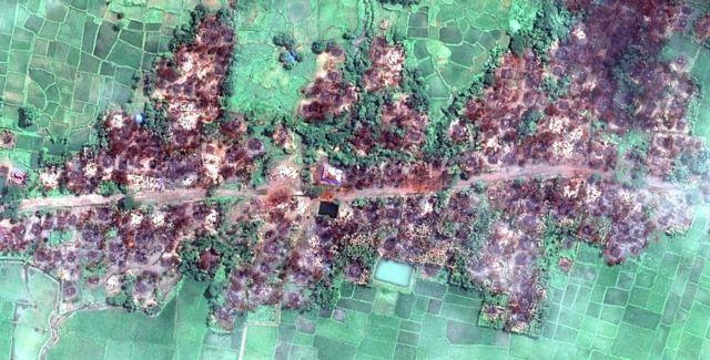 Myanmar'daki uydu fotoğrafları, Arakanlı Müslümanların köylerindeki yıkımı gözler önüne serdi