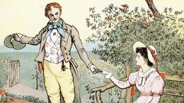 Grabado inglés que muestra a un hombre tomando de la mano a una mujer e invitándole a seguir su camino.