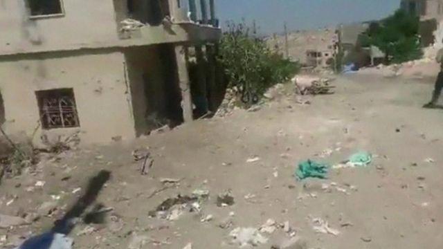 Aftermath of an air strike on a field hospital in Idlib, Syria