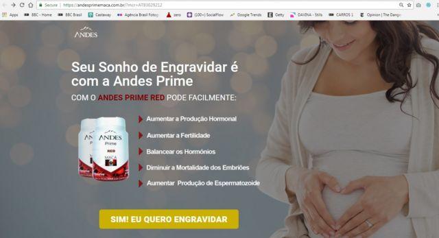 "Imagem mostra propaganda de ""kit para engravidar"" da marca Andes Prime. Publicidade e comércio são proibidos, segundo Anvisa."