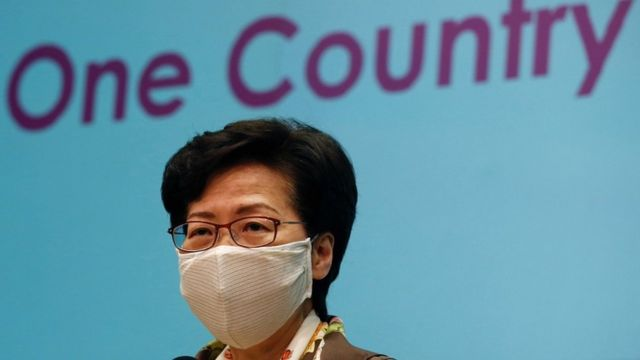 File picture of Hong Kong Chief Executive Carrie Lam at a news conference over the new national security legislation in Hong Kong in June 2020.