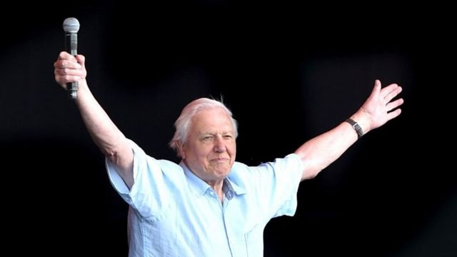 David Attenborough con los brazos en alto saludando a la multitud en Glastonbury en 2019