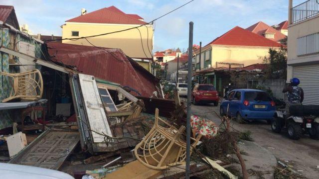 Destrucción en Gustavia, San Bartolomé.