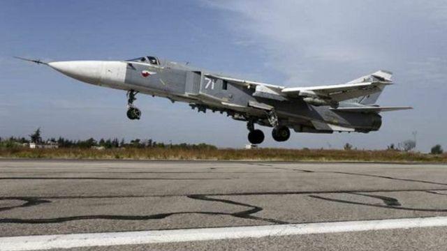 在敘利亞部署的俄羅斯蘇-24戰鬥機