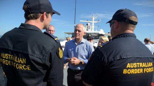 Australian Prime Minister Malcolm Turnbull speaks to Border Force officers