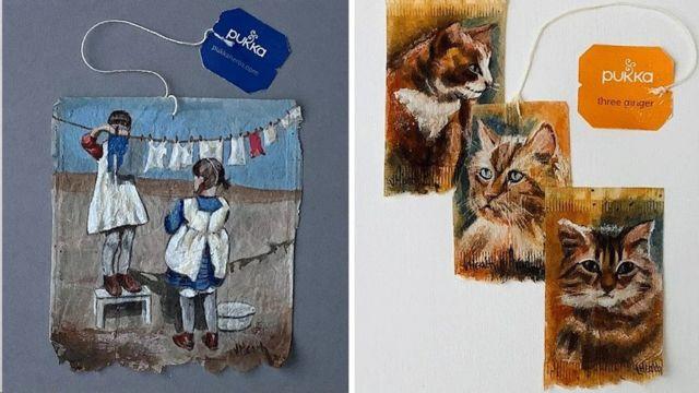كما رسمت أيضا يوم غسيل الملابس وقططا