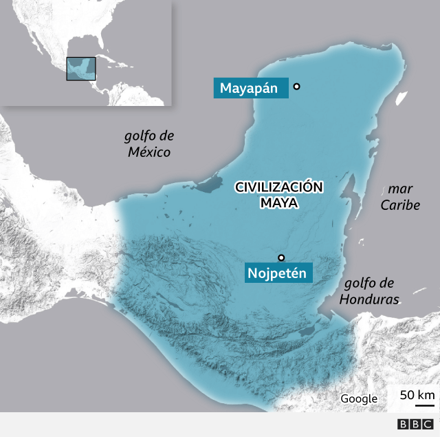 Mapa situando la civilización maya en el siglo XV
