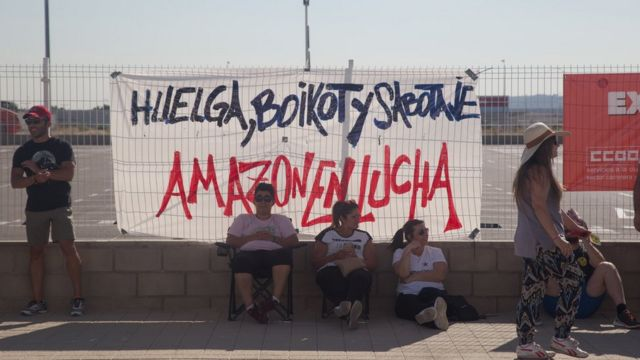 Huelga contra Amazon en España