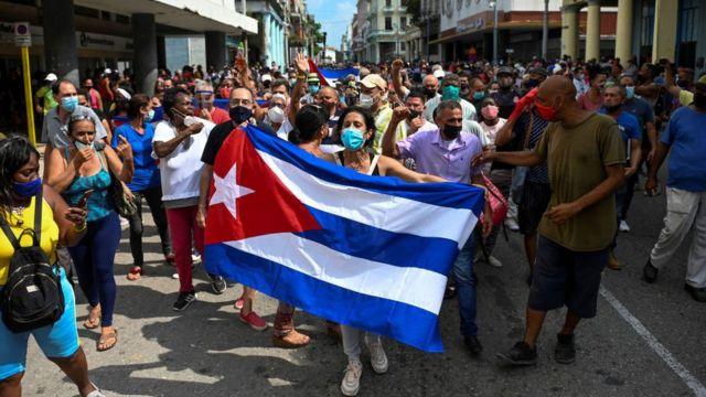 Una protesta en La Habana