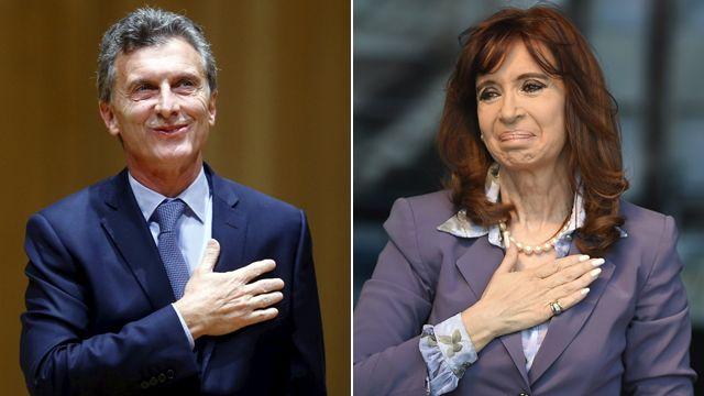 The president elect Mauricio Macri and the departing president, Cristina Fernandez de Kirchner,