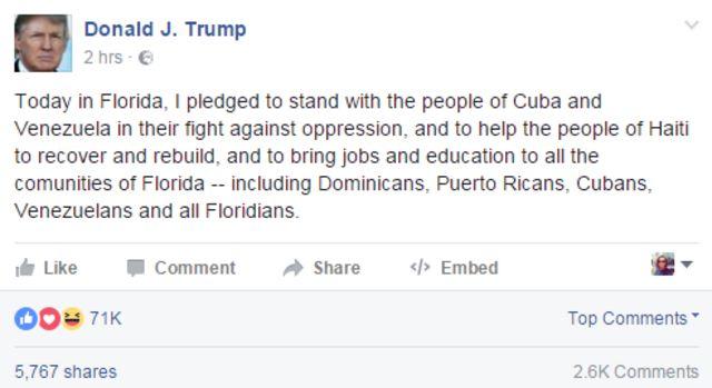 Trump on Facebook