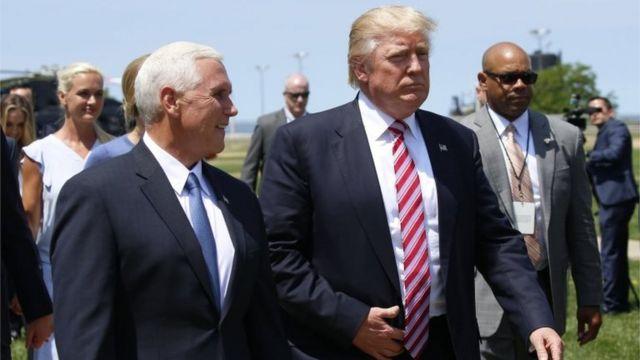 Donald Trump y su nominado a vice presidente, Mike Pence, en Cleveland, Ohio, el 20 de julio de 2016.