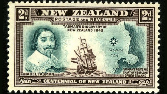 Selo com imagem de Abel Tasman