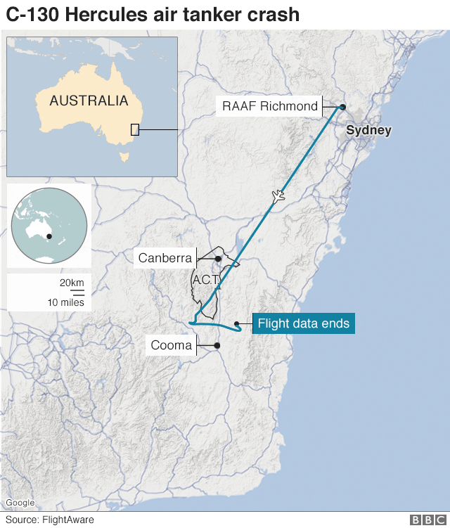 A map showing the path of the plane
