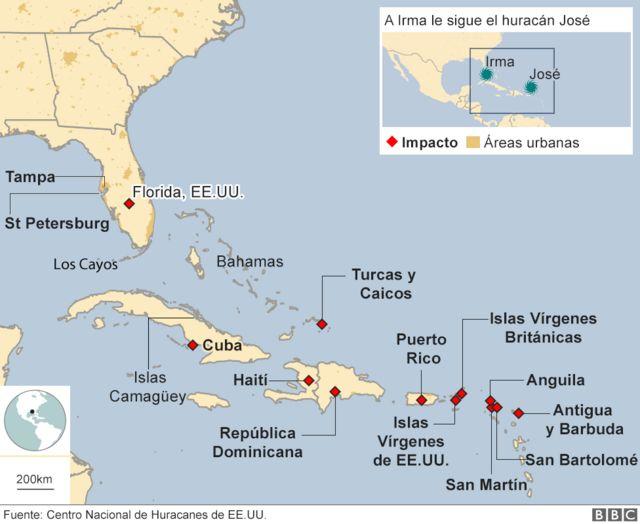 Mapa de las islas del Caribe afectadas por el huracán Irma