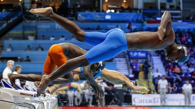 """Simphiwe Dlamini of Swaziland competes in the men""""s 50m Breaststroke Heats during the 13th FINA Short Course World Swimming Championships at WFCU Centre in Windsor, Ontario, Canada, 10 December 2016."""