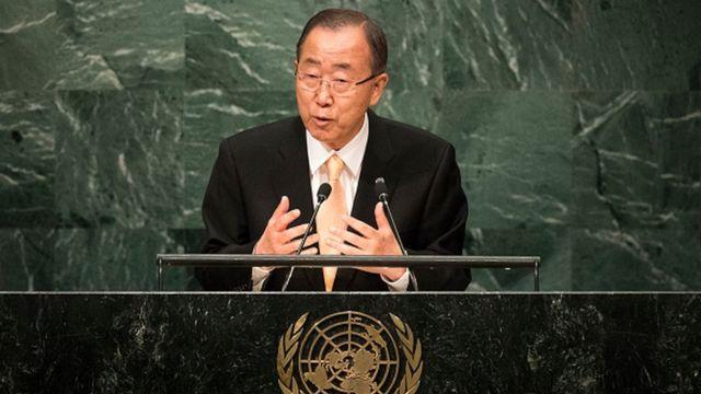 """Ban Ki-moon """"exhorte tous les dirigeants politiques concernés et leurs partisans à s'abstenir de tout autre acte de violence susceptible d'aggraver la situation""""."""