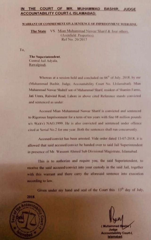 अदालत की अडियाला जेल प्रमुख को चिट्ठी