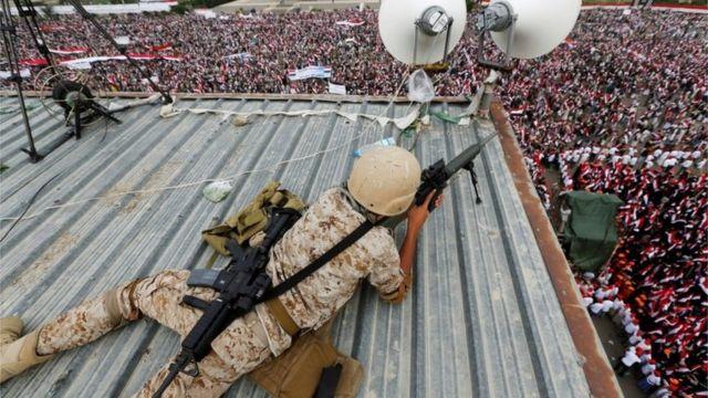 Des snipers étaient chargés d'assurer la sécurité pendant la manifestation.