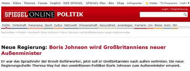 Screenshot of Der Spiegel masthead and headline