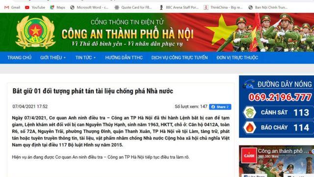 Thông cáo của CATP Hà Nội