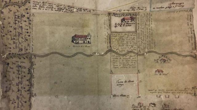 Mapa que situa a propriedade dos beneditinos na Baixada Fluminense