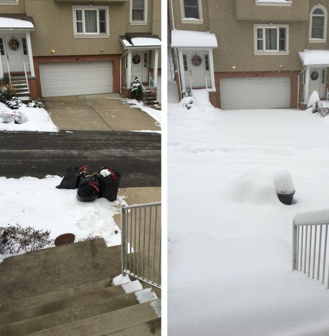 吹雪の前と後。ウェストバージニア州モーガンタウンでリチャード・グローバーさん撮影(23日)