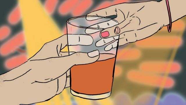 Illustration of a woman being given a drink