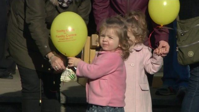 Children at the Trinity Childcare and Family Centre release balloons to remember the victims of the Aberfan disaster