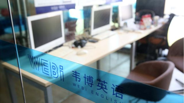 A training institution of Webi English is seen on October 10, 2019 in Hangzhou, Zhejiang Province of China.