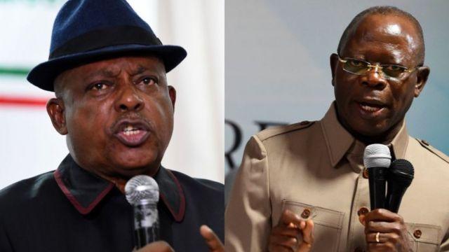Onyeisi ndị PDP - Uche Secondus, na onyeisi ndị APC Adams Oshiomhole