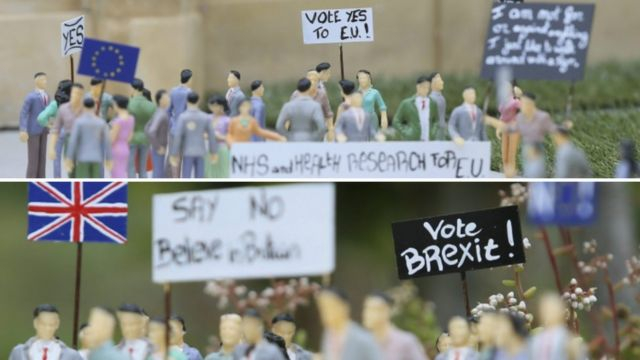 Miniaturas montadas em parque de Bruxelas reproduzem debate do 'Brexit' no Reino Unido