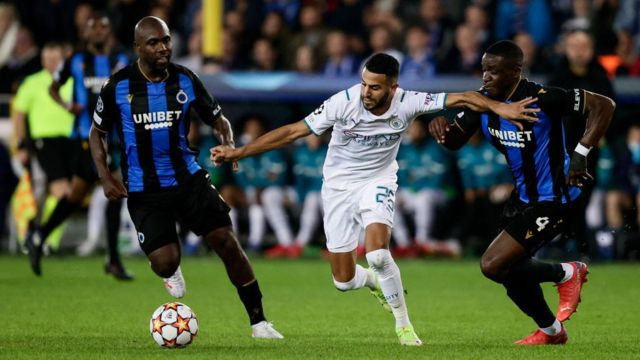 Riyad Mahrez in action for Manchester City against Club Bruges