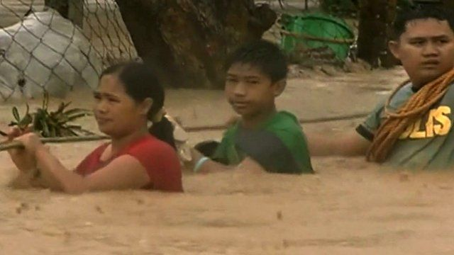 People in the typhoon in the Philippines