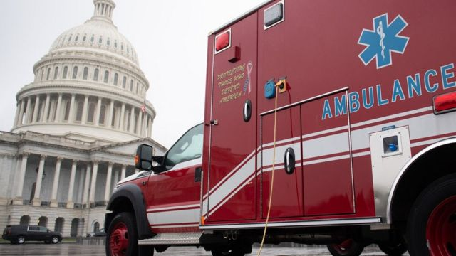 An ambulance parked outside Capitol Hill
