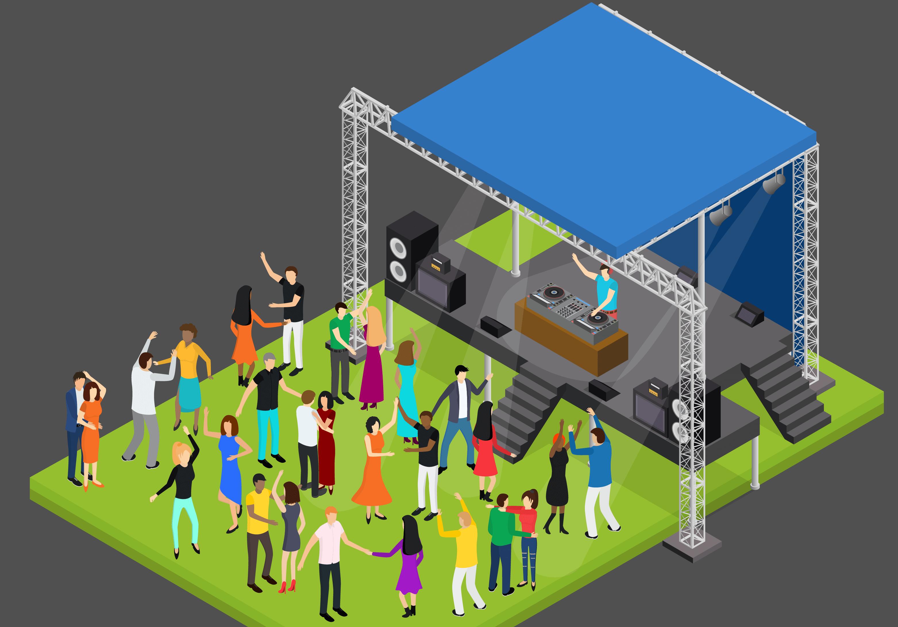 Ilustración isométrica de una fiesta con gente bailando.