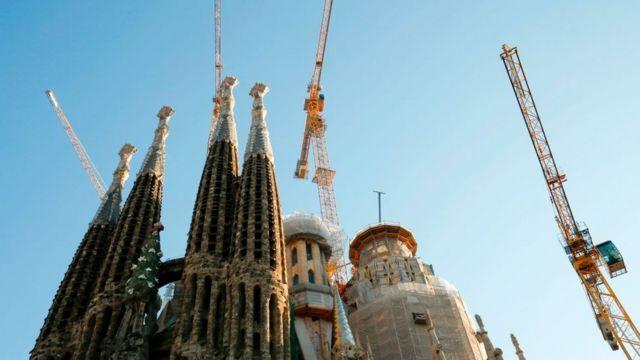 Obras en la Sagrada Familia de Barcelona.