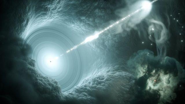 Ilustração do núcleo galáctico ativo.