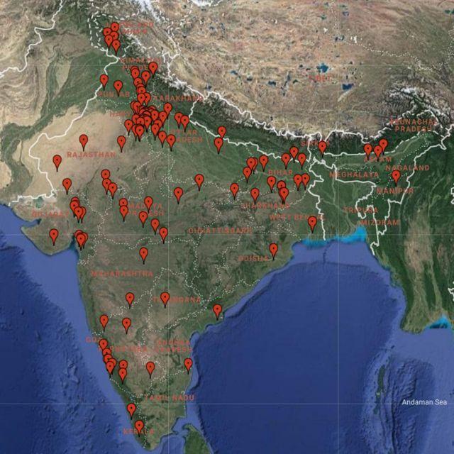 ভারতে গরু সংক্রান্ত সহিংসতা যেখানে যেখানে ঘটেছে
