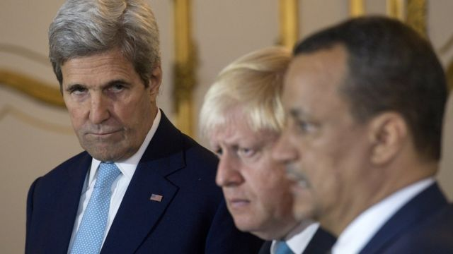 وزير الخارجية الأمريكي جون كيري ونظيره البريطاني والمبعوث الأممي إلى اليمن
