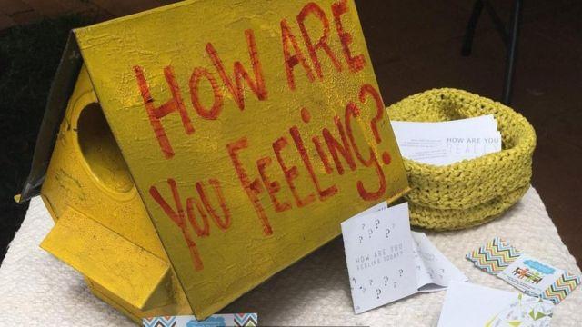 Caixa com a pergunta 'como você está se sentindo?'