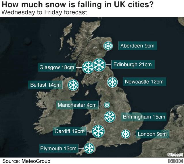 Map showing various cities' snowfall