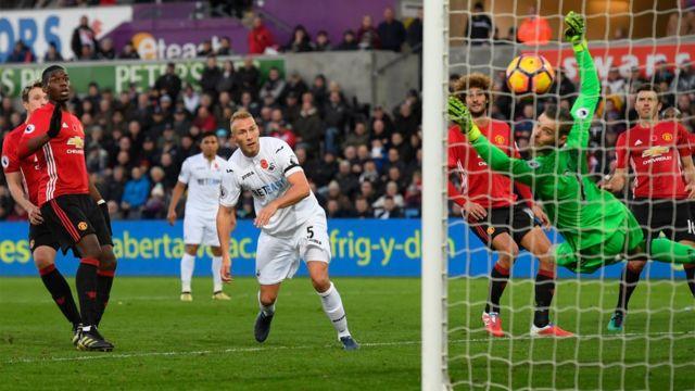 سوانزي يحرز هدفا ضد مانشستر يونايتد