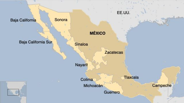 Mapa de gubernaturas para Morena