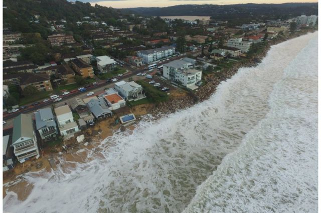 Picture taken from a drone shows a long shot of Collaroy beach